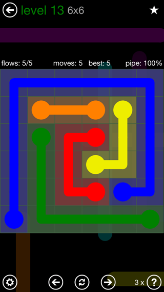 Solution and Answer to the Puzzle for Flow 6mania Pack Set 6x6 Level 13