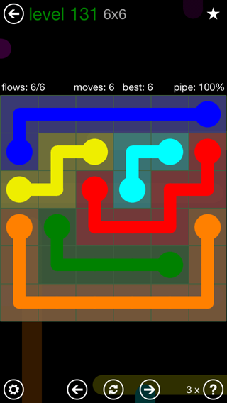 Solution and Answer to the Puzzle for Flow 6mania Pack Set 6x6 Level 131