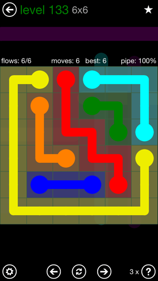 Solution and Answer to the Puzzle for Flow 6mania Pack Set 6x6 Level 133