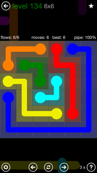 Solution and Answer to the Puzzle for Flow 6mania Pack Set 6x6 Level 134