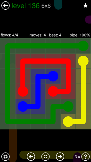 Solution and Answer to the Puzzle for Flow 6mania Pack Set 6x6 Level 136