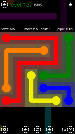 Solution and Answer to the Puzzle for Flow 6mania Pack Set 6x6 Level 137
