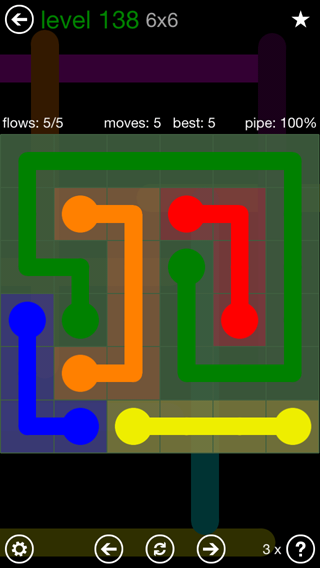 Solution and Answer to the Puzzle for Flow 6mania Pack Set 6x6 Level 138