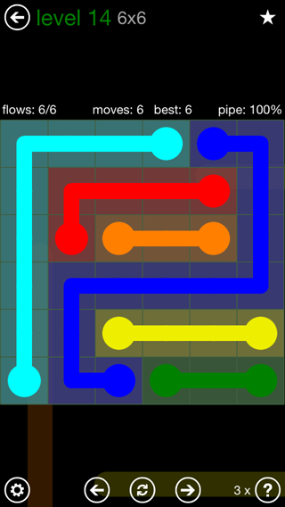 Solution and Answer to the Puzzle for Flow 6mania Pack Set 6x6 Level 14