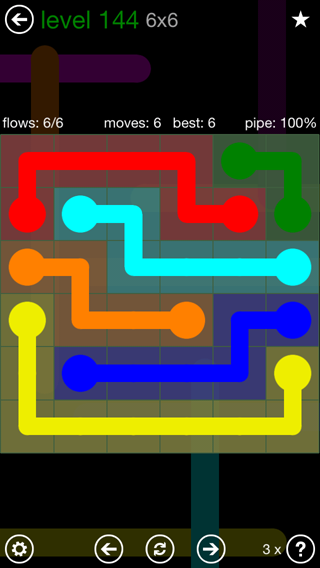 Solution and Answer to the Puzzle for Flow 6mania Pack Set 6x6 Level 144