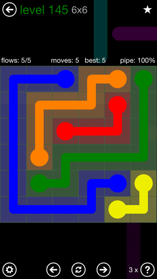 Solution and Answer to the Puzzle for Flow 6mania Pack Set 6x6 Level 145