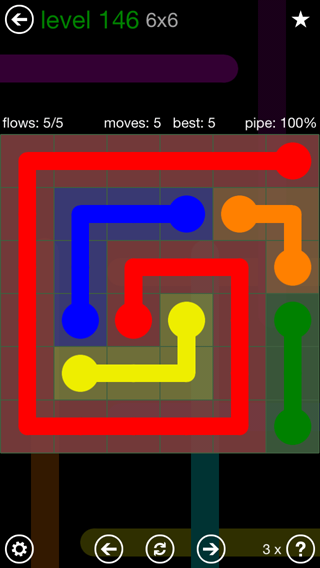 Solution and Answer to the Puzzle for Flow 6mania Pack Set 6x6 Level 146