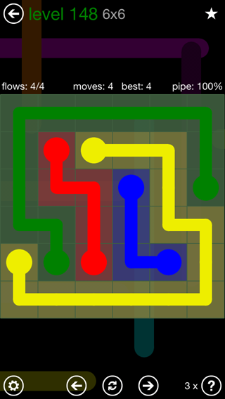 Solution and Answer to the Puzzle for Flow 6mania Pack Set 6x6 Level 148