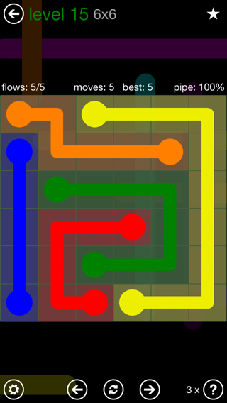 Solution and Answer to the Puzzle for Flow 6mania Pack Set 6x6 Level 15