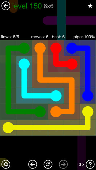 Solution and Answer to the Puzzle for Flow 6mania Pack Set 6x6 Level 150