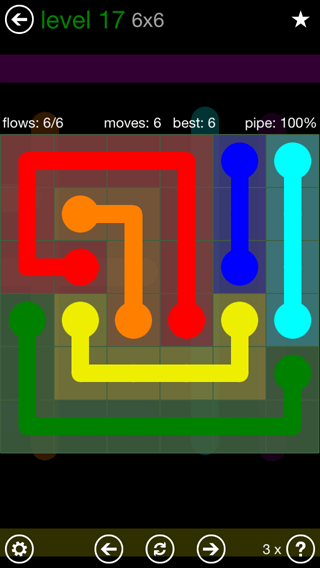 Solution and Answer to the Puzzle for Flow 6mania Pack Set 6x6 Level 17