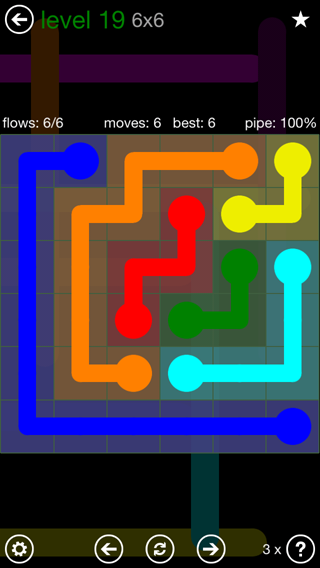 Solution and Answer to the Puzzle for Flow 6mania Pack Set 6x6 Level 19