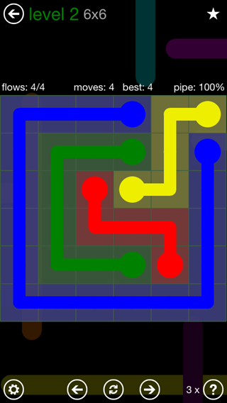 Solution and Answer to the Puzzle for Flow 6mania Pack Set 6x6 Level 2