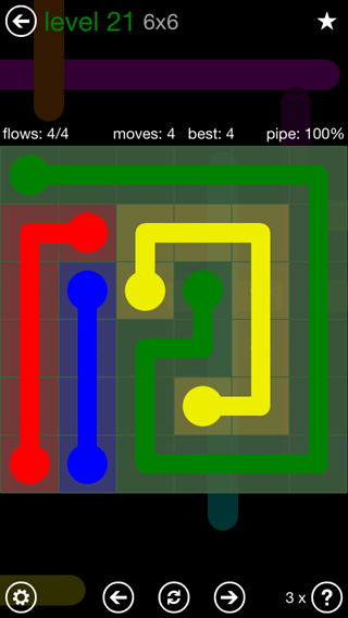 Solution and Answer to the Puzzle for Flow 6mania Pack Set 6x6 Level 21