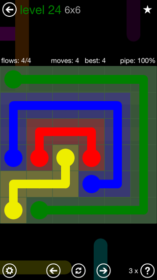 Solution and Answer to the Puzzle for Flow 6mania Pack Set 6x6 Level 24