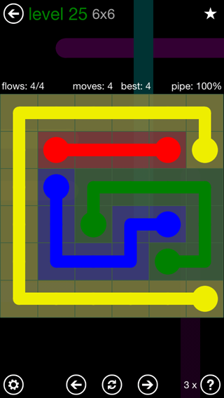 Solution and Answer to the Puzzle for Flow 6mania Pack Set 6x6 Level 25