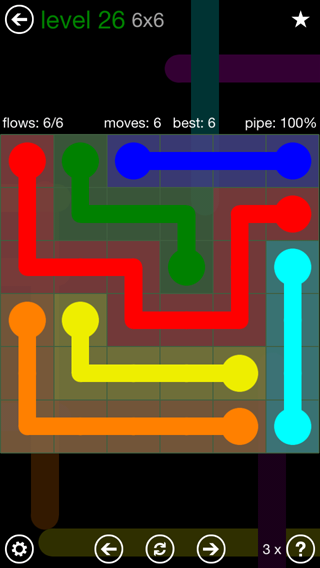 Solution and Answer to the Puzzle for Flow 6mania Pack Set 6x6 Level 26