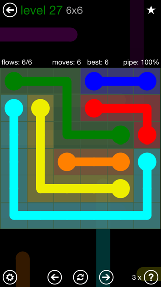 Solution and Answer to the Puzzle for Flow 6mania Pack Set 6x6 Level 27