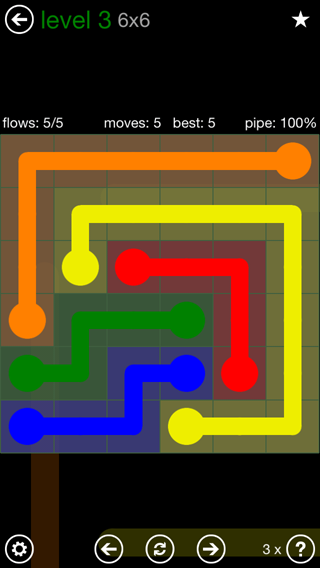 Solution and Answer to the Puzzle for Flow 6mania Pack Set 6x6 Level 3