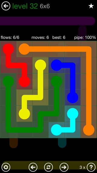 Solution and Answer to the Puzzle for Flow 6mania Pack Set 6x6 Level 32