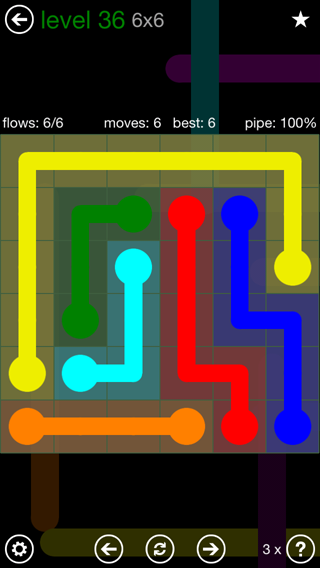 Solution and Answer to the Puzzle for Flow 6mania Pack Set 6x6 Level 36