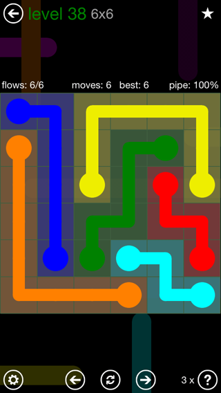 Solution and Answer to the Puzzle for Flow 6mania Pack Set 6x6 Level 38
