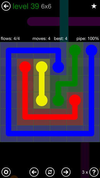 Solution and Answer to the Puzzle for Flow 6mania Pack Set 6x6 Level 39