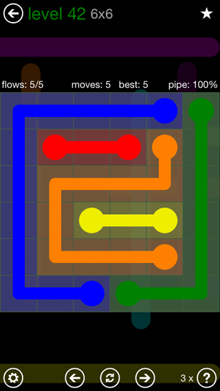 Solution and Answer to the Puzzle for Flow 6mania Pack Set 6x6 Level 42