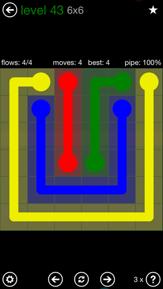 Solution and Answer to the Puzzle for Flow 6mania Pack Set 6x6 Level 43