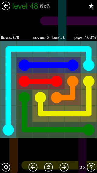 Solution and Answer to the Puzzle for Flow 6mania Pack Set 6x6 Level 48