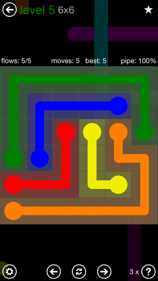 Solution and Answer to the Puzzle for Flow 6mania Pack Set 6x6 Level 5