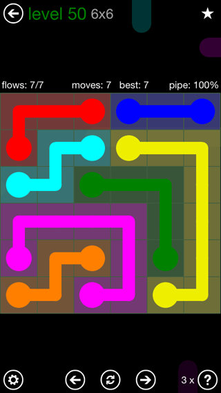 Solution and Answer to the Puzzle for Flow 6mania Pack Set 6x6 Level 50
