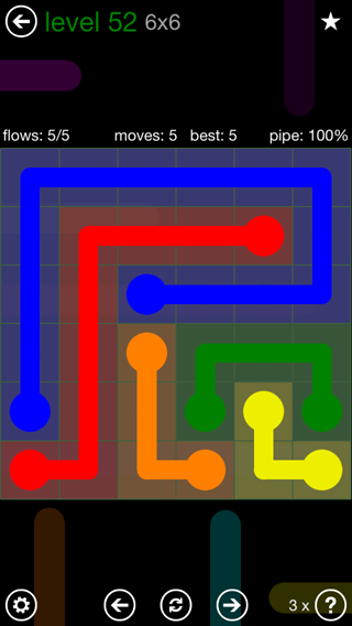 Solution and Answer to the Puzzle for Flow 6mania Pack Set 6x6 Level 52