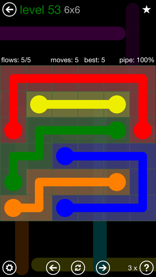 Solution and Answer to the Puzzle for Flow 6mania Pack Set 6x6 Level 53