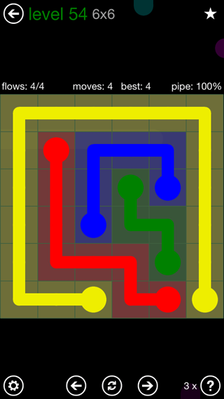 Solution and Answer to the Puzzle for Flow 6mania Pack Set 6x6 Level 54