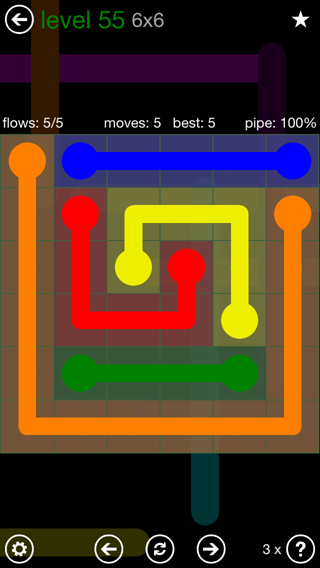 Solution and Answer to the Puzzle for Flow 6mania Pack Set 6x6 Level 55