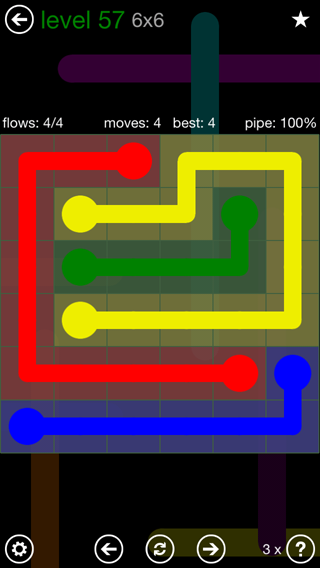 Solution and Answer to the Puzzle for Flow 6mania Pack Set 6x6 Level 57