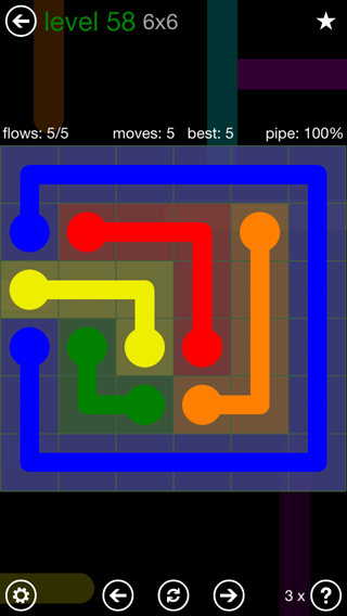 Solution and Answer to the Puzzle for Flow 6mania Pack Set 6x6 Level 58