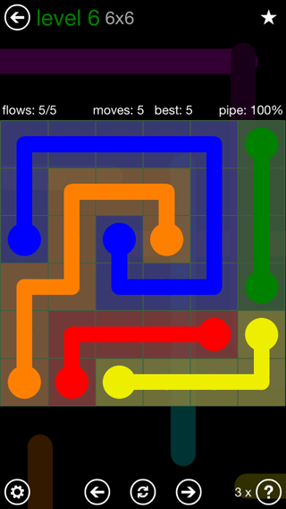 Solution and Answer to the Puzzle for Flow 6mania Pack Set 6x6 Level 6