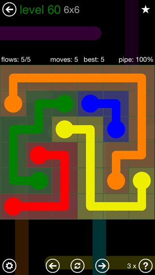 Solution and Answer to the Puzzle for Flow 6mania Pack Set 6x6 Level 60