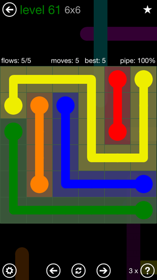 Solution and Answer to the Puzzle for Flow 6mania Pack Set 6x6 Level 61