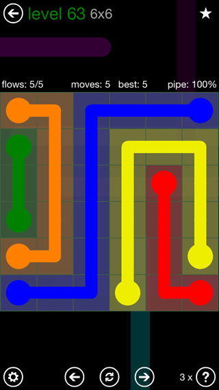 Solution and Answer to the Puzzle for Flow 6mania Pack Set 6x6 Level 63