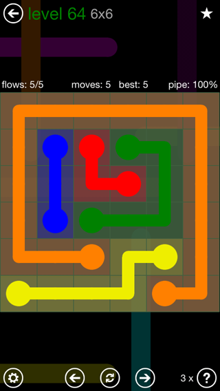 Solution and Answer to the Puzzle for Flow 6mania Pack Set 6x6 Level 64