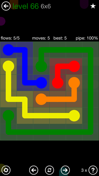 Solution and Answer to the Puzzle for Flow 6mania Pack Set 6x6 Level 66