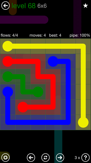 Solution and Answer to the Puzzle for Flow 6mania Pack Set 6x6 Level 68