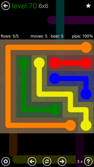Solution and Answer to the Puzzle for Flow 6mania Pack Set 6x6 Level 70