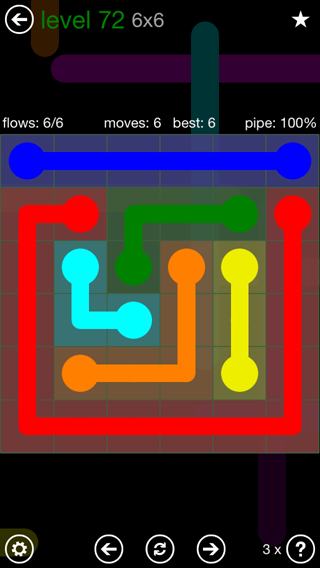 Solution and Answer to the Puzzle for Flow 6mania Pack Set 6x6 Level 72