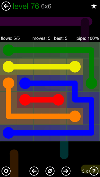 Solution and Answer to the Puzzle for Flow 6mania Pack Set 6x6 Level 76