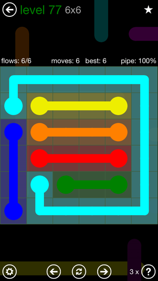 Solution and Answer to the Puzzle for Flow 6mania Pack Set 6x6 Level 77