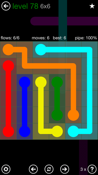 Solution and Answer to the Puzzle for Flow 6mania Pack Set 6x6 Level 78